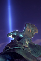 American Eagle (laverrue) Tags: world nyc blue light statue night manhattan towers 911 twin center 11 september financialdistrict explore batterypark wtc gothamist tribute september11 trade tributeinlight lightblue eastcoastmemorial heurebleue explored eagleamericanusa