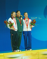 Medal presentation 50m Freestyle (Ben124.) Tags: china swimming beijing louise paralympics medalceremon