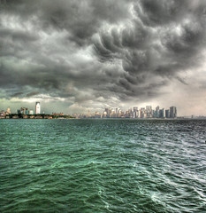 Storm Over Manhattan (Joe Chiapputo Photography) Tags: road new york city trip blue sea sky cloud ny storm black never green water car weather ferry dark liberty island shower grey high scary day view sleep ominous manhattan tide gray bad overcast transportation thunderstorm lightning suv heavy pour thunder seas bluegreen downpour inclement burrough msh1008 msh10083 afpov therebeastormabrewin