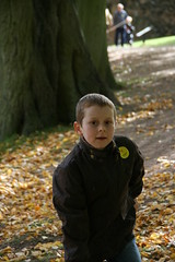 Trying to look innocent (Photos by Jus) Tags: old autumn trees england building brick green history nature stone gold october norman richard 2008 warwickshire kenilworthcastle englishheritage