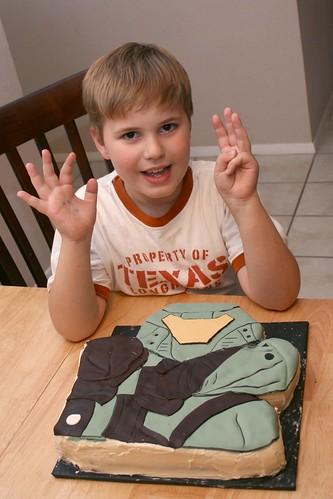 Jamie with cake - 8 years old