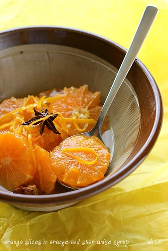 oranges in orange and star anise syrup