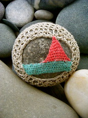 sail away (knitalatte11) Tags: shells snow sailboat blog starfish stones selftaught sailaway originaldesign firstattempt creativecraft needlepointlaceembroidery coveredseastone turqoiseandpeach