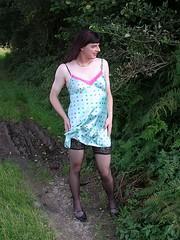 Breeze (Paula Satijn) Tags: green stockings smile shiny tgirl transvestite satin nightdress nightie