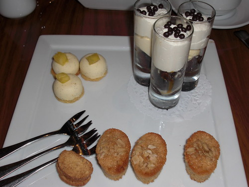 pineapple cheesecake, brownie and ice cream, oatmeal biscuit