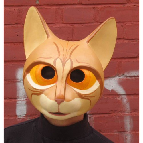 Striped Paper Mache Cat Mask