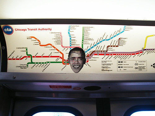 Obama in the CHICAGO CTA by TXangoblanco on Flickr