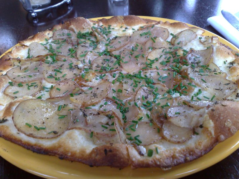 Potato, onion and white truffle oil pizza
