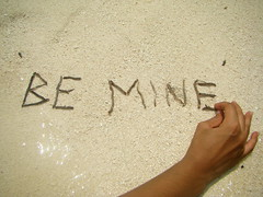 `BE MINE` (pea2wenty3) Tags: wood boy love water sand hand together adore bemine