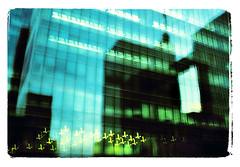 Bruxelles 20 (Rev. Strangelove !!!!) Tags: street longexposure blue brussels urban abstract blur green film buildings holga lomo xpro bokeh bruxelles vert bleu motionblur naruto wwe flou noair crossproces jeepnovak bleedinglove bushshoe