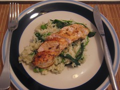 Lemon Thyme Chicken w/ Spinach & Pea Pilaf 2