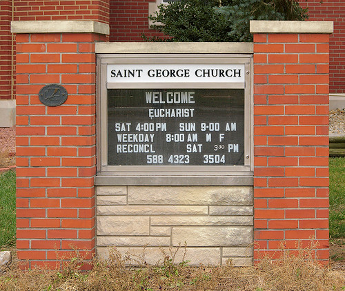 Saint George Roman Catholic Church, in New Baden, Illinois, USA - sign