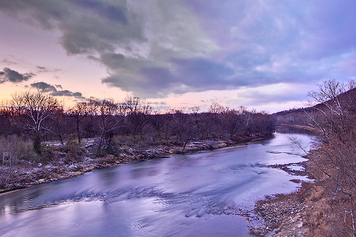 Meramec River, near Eureka, Missouri, USA - view at dusk from Route 66 State Park bridge
