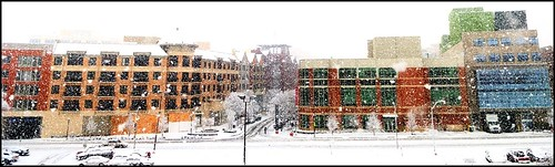 Town Square buildings in the snow (by: Jay Divinagracia, creative commons)