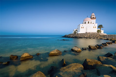 After Fajr (Khaled A.K) Tags: longexposure blue sea sky seascape water rocks mosque corniche sa jeddah saudiarabia khaled masjid waterscape ksa masjed saudia kashkari