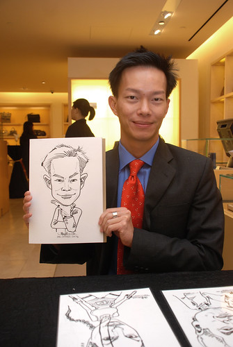 Caricature live sketching for Bulgari Christmas Brunch - 1