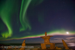 Northern lights with full moon and native rock symbol Inukshuk (Rolf Hicker Photography) Tags: moon canada manitoba fullmoon churchill northernlights auroraborealis inukshuks