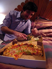 Husbear just wants to eat the damn pizza already! (Boots in the Oven) Tags: newmexico dinner hotel bed roadtrip pizza spicy taos nm unhappy husbear greenchile innofthesungods