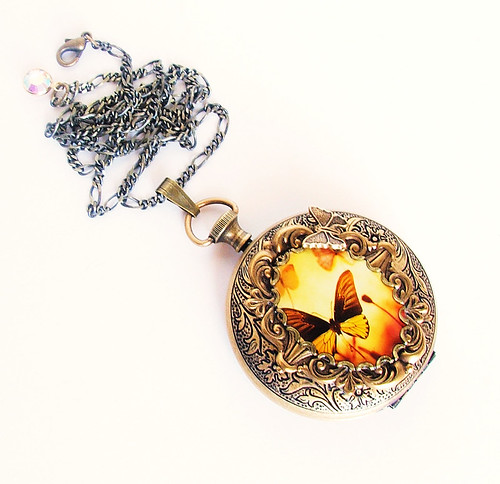 Butterfly Garden Pocket Watch Locket