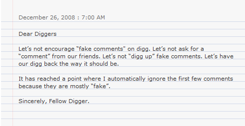 Diggers Really Tired of Fake Digg Comments