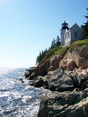 (Pezgt) Tags: blue cliff lighthouse tree green rock maine bassharbor wate