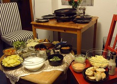 Raclette Table (Food Pon) Tags: food table vegan essen tisch raclette