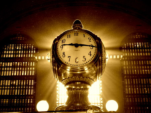 new york city grand central clock sepia