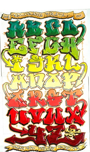graffiti alphabet, a-z alphabet,graffiti pirate