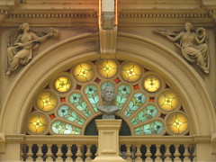 Fan Window of Her Majesty's Theatre - Exhibition Street, Melbourne (raaen99) Tags: blue red building green window yellow architecture facade gold fan theatre pillar 19thcentury victorian shakespeare australia melbourne stainedglass victoria bust entertainment victoriana mauve pillars 1886 stainedglasswindow goldrush nineteenthcentury williamshakespeare hermajestys hermajestystheatre peacockfeather exhibitionstreet commercialbuilding peacocktail hismajestys renaissancerevival architecturalfeature hermaj renaissancestyle melbournearchitecture hismajestystheatre exhibitionst latevictorian latevictorianarchitecture goldrushera thealexandra themaj nahumbarnet fanwindow architecturallydesigned boomperiod goldrusheraarchitecture thealexandratheatre thealec placeofentertainment