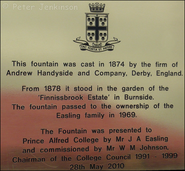 Commemorative plaque on restored Andrew Handyside Fountain at Prince Alfred College, Adelaide, Australia