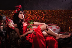 [Free Image] People, Women, Asian Women, Rose, Dress, People and Flowers, 201106282100