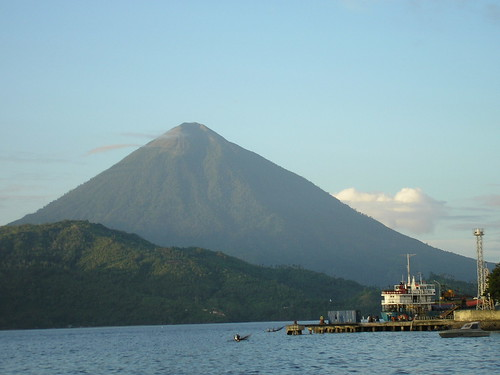Mount Tidore, off the western coast of Halmahera, Indonesia