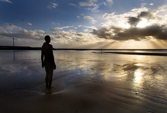 Before The Storm (BarneyF) Tags: sunset seascape reflection beach water statue liverpool landscape anthonygormley anotherplace blueribbonwinner crosbybeach gapc superaplus aplusphoto