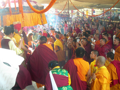 His Holiness Jigdal Dagchen Sakya embarks to circumnabulate on Bodhisattva Vow Day, Tharlam Monastery, Boudha, Kathmandu, Nepal by Wonderlane