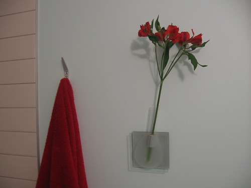 Red alstro flowers in the bathroom