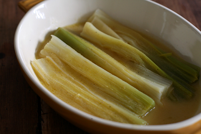 Braised Leeks with Dijon Vinaigrette