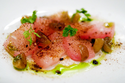 raw kampachi with grapes