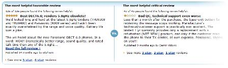 Amazon postive and negative user reviews