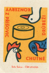 czechoslovakian matchbox label (maraid) Tags: food chicken birds tin duck czech can poultry canned packaging czechrepublic czechoslovakia czechoslovakian matchboxlabel solosusice povice