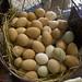 beautiful basket of chicken eggs