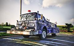 Off Duty (crashmattb) Tags: sunset abandoned parkinglot automobile nashville tennessee south firetruck plugin tonemapped canoneosdigitalrebelxti sigma1770mmf2845dc photoshopcs3 adobephotoshopcs3 redynamix dcetools medichance