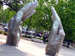 Whenever I hold you... (ccurtiz) Tags: sculpture art hands chicoca plazaart canonpowershotsd950is