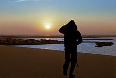 (aZ-Saudi) Tags: sky sun lake nature water grass silhouette skyline sunrise sand nikon desert horizon arabic oasis saudi arabia d200 herb   ksa goldenglobe alhasa    arabin goldstaraward  arabs