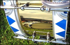 Drum Reflection in Bavaria Germany (Batikart) Tags: travel vacation music macro grass closeup reflections germany bayern deutschland bavaria drums holidays urlaub meadow musik makro trommel vacanze closer reflexionen a610 canonpowershota610 viewonblack