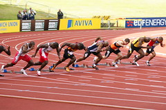 Mens 100m finals British Champs and Olympic Trials