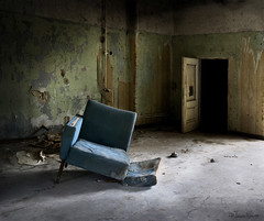 My turn to sink down in the blue chair (moggierocket) Tags: door light wallpaper chair darkness decay room chapeau sanatorium chiaroscuro abandonment elviscostello nikond80 hourofthesoul moggierocket