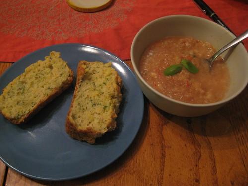 zucchini cheddar bread, gazpacho