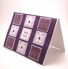 Cherry Blossom Mosaic Card (purple) (kittykatkards) Tags: flower floral tile purple handmade mosaic craft note homemade card cherryblossom sakura rhinestone greetingcard notecard