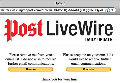 Washington Post LiveWire e-mail optout