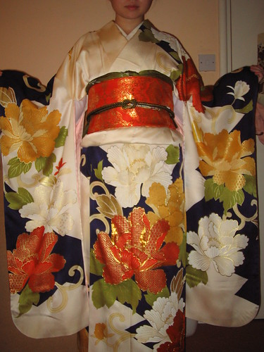 Cream peony furisode - front
